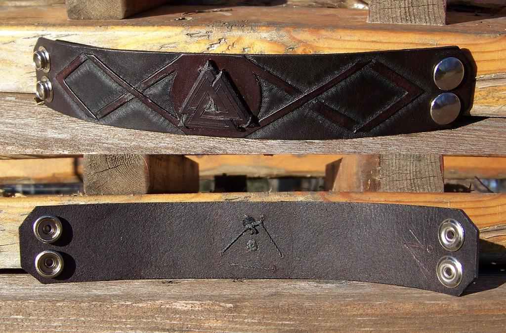 Leather Projects - Valknut Wristband 1