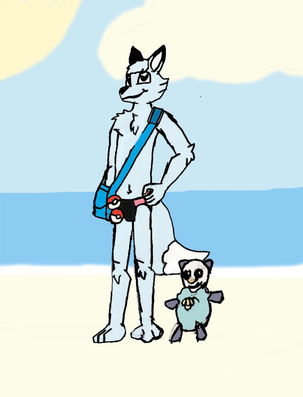 Pokemon Trainer Terry and Oshawott on a Beach