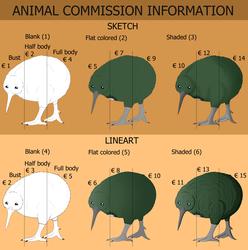 Animal commission sheet 2020