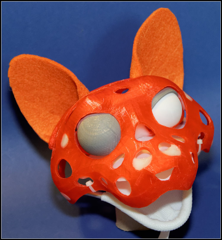 3D-printed cat puppet-head