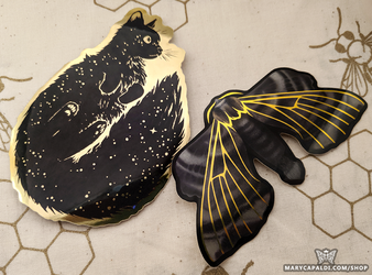 New Shiny Gold Cat & Moth Stickers!