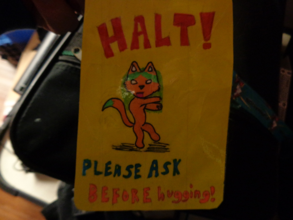 Most recent image: Dont hug me without asking! Badge