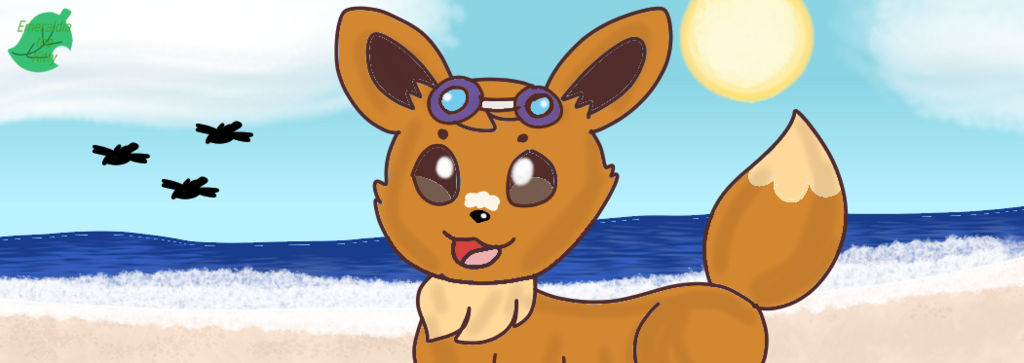 Eevee at the Beach (Redraw)