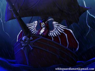 Fluffie in a pirate ship