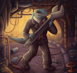 Mr. Lizard at work