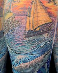 Whale Below, Sail Above - Seascape Arm Tattoo