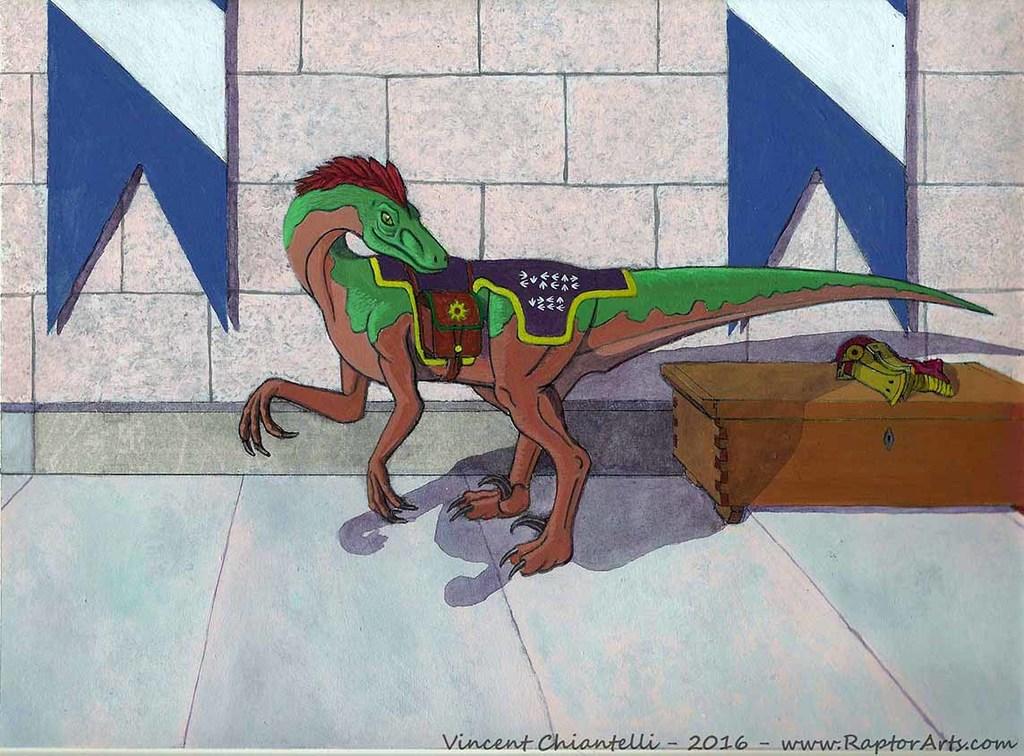 Renaissance Dinotopia Raptor Acrylic Painting