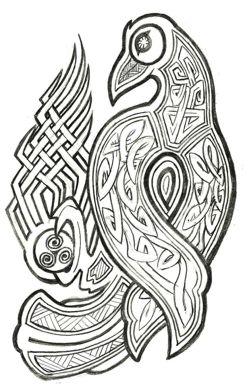 Celtic raven design