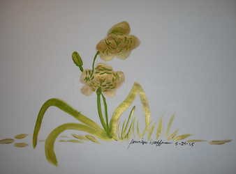 Gold and green tiger lilies