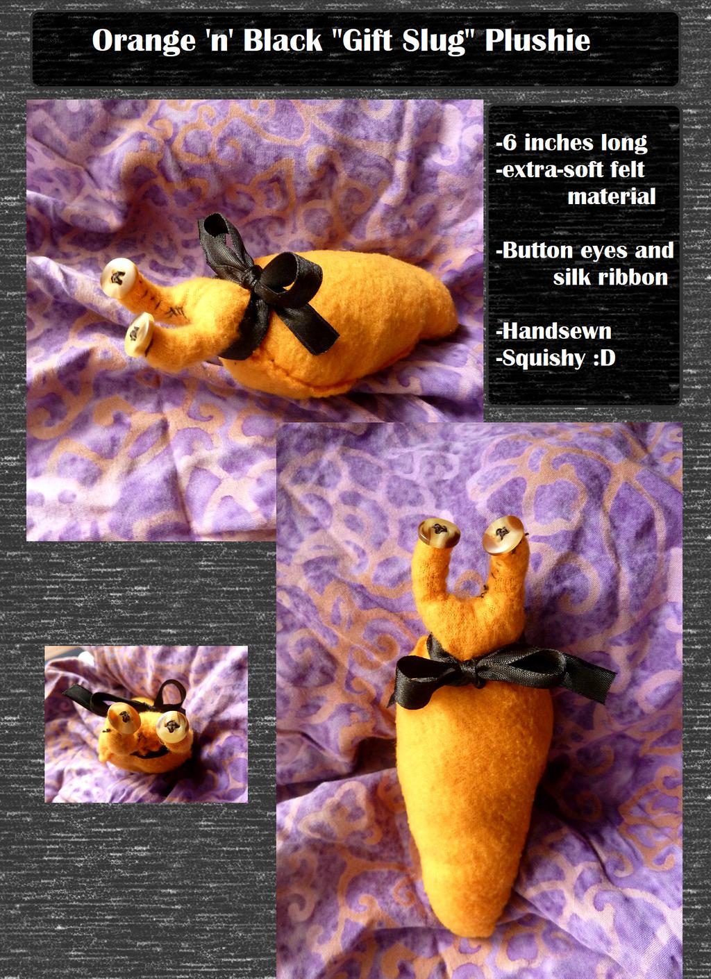 Orange and Black Gift Slug Plushie (On Etsy)