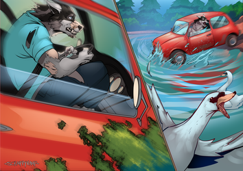 Werewolf Insurance Problems (daylight) by ScrappyVamp