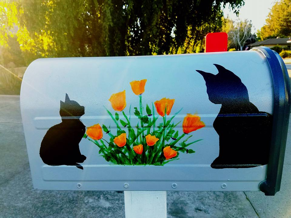 Cats and Poppies mailbox