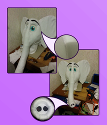 White Elephant Fursuit Head - Finally Complete!
