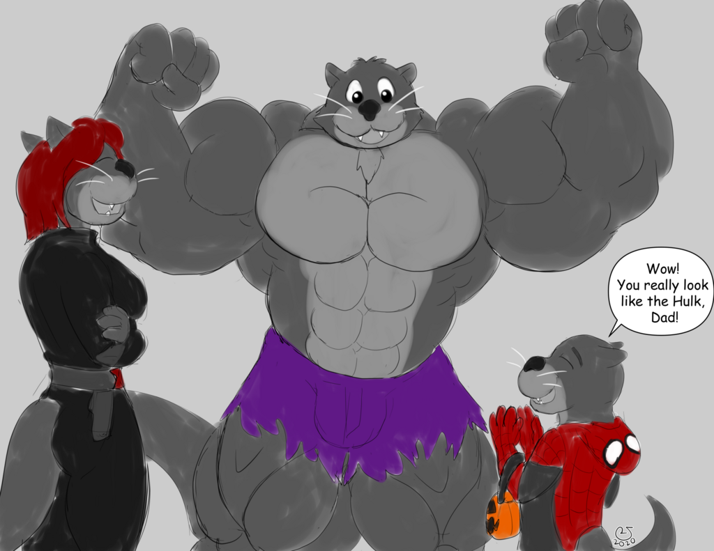Sketchmission: Otter Family Halloween