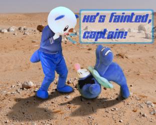 """He's Fainted, Captain!"" (Oshawott Fursuiting Photo)"