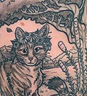 Art Nouveau Cat Rib Tattoo