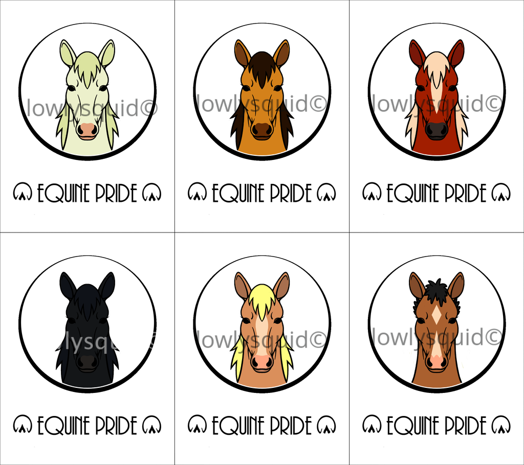 Colored Species Pride Badges: Equine