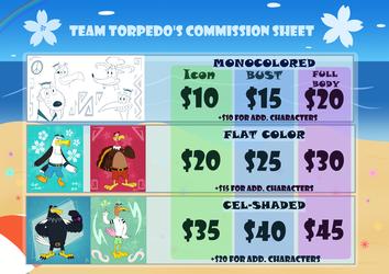 Team Torpedo's Commission Sheet