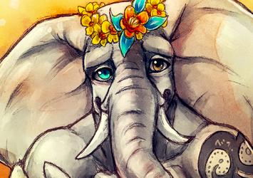 Flowery Elephant - Sketch
