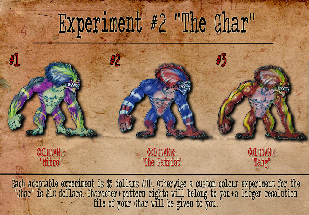 "Most recent image: Experiment #2 ""The Ghar"" Batch 1 ADOPTABLES"