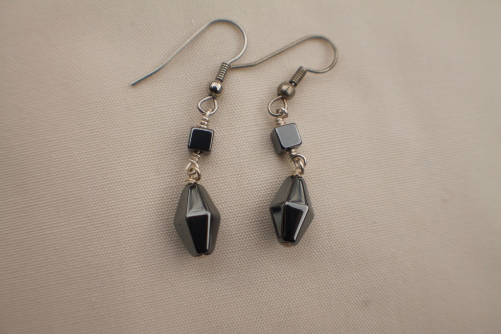 Hematite Square and Faceted Diamond Earrings