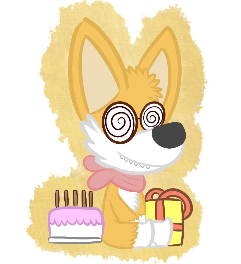 A CatBountry Corgi has cake and a gift.