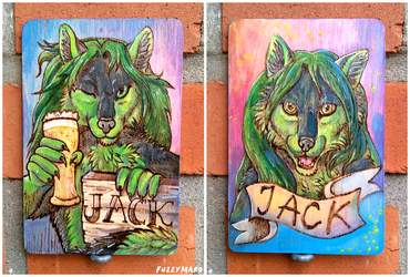 Jack-wooden badge
