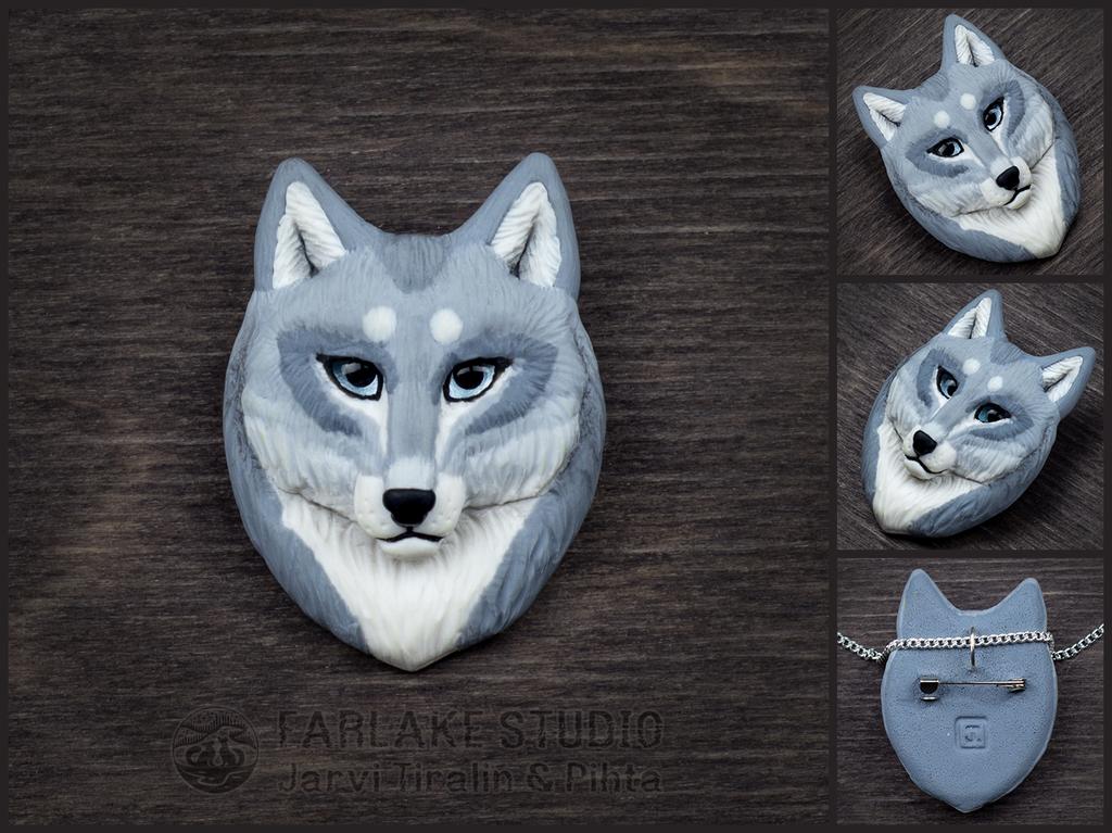 Pale gray wolf portrait badge - for sale