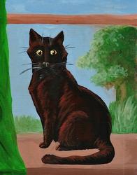 The Black Cat in the Windowsill