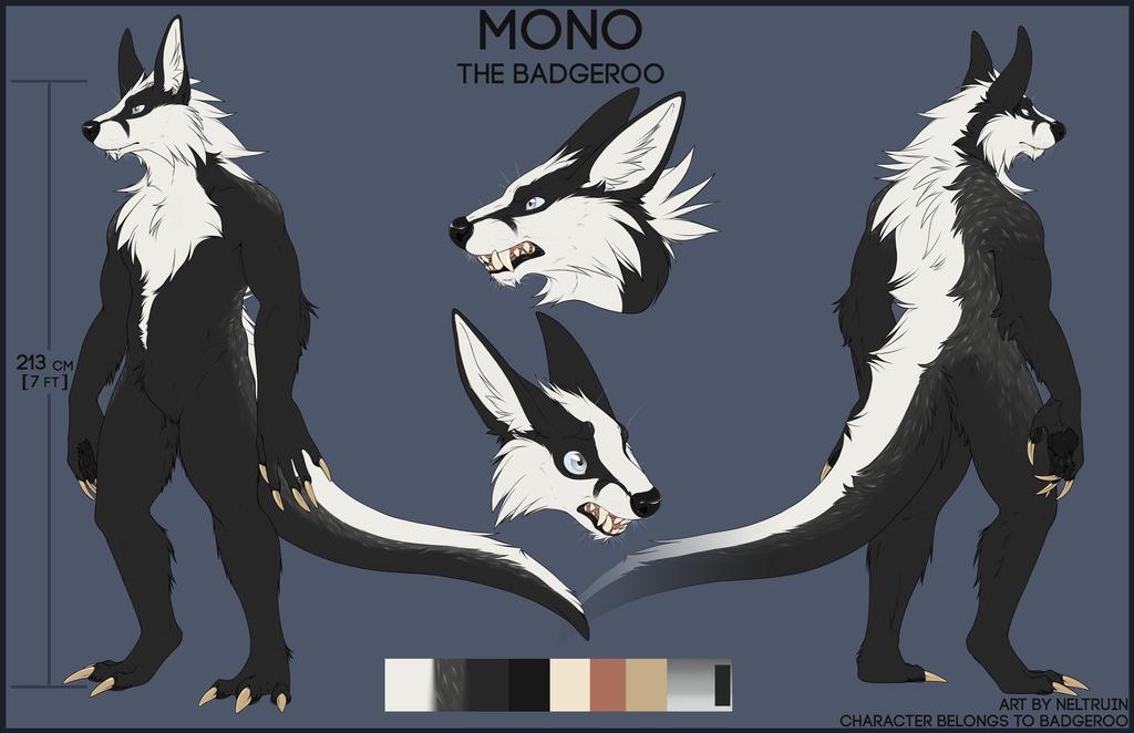 Mono the badgeroo - reference sheet
