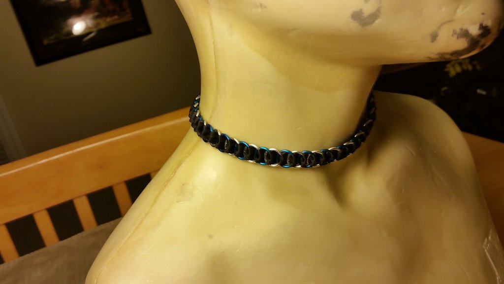 Blue and Silver Ribbon Maille Commission for Falagra