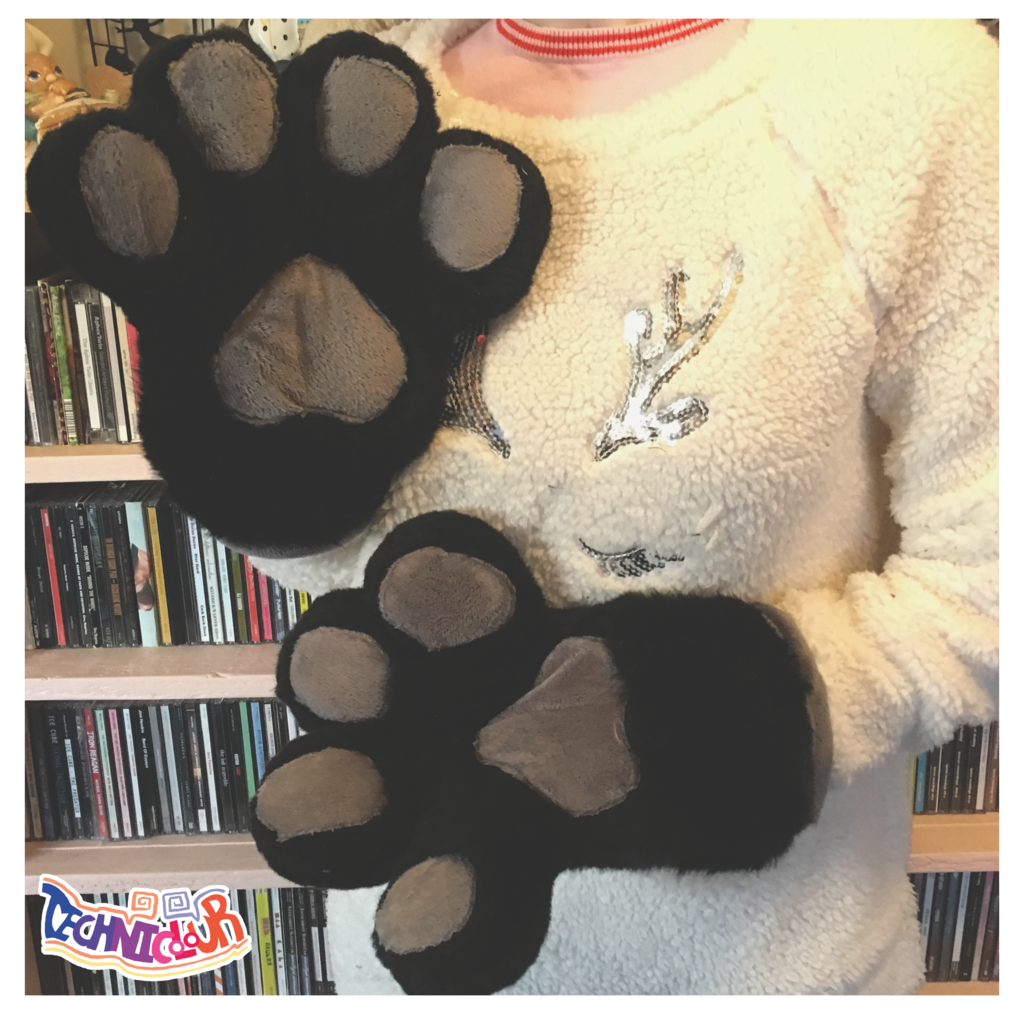 Black Fursuit Handpaws With Gray Pawpads