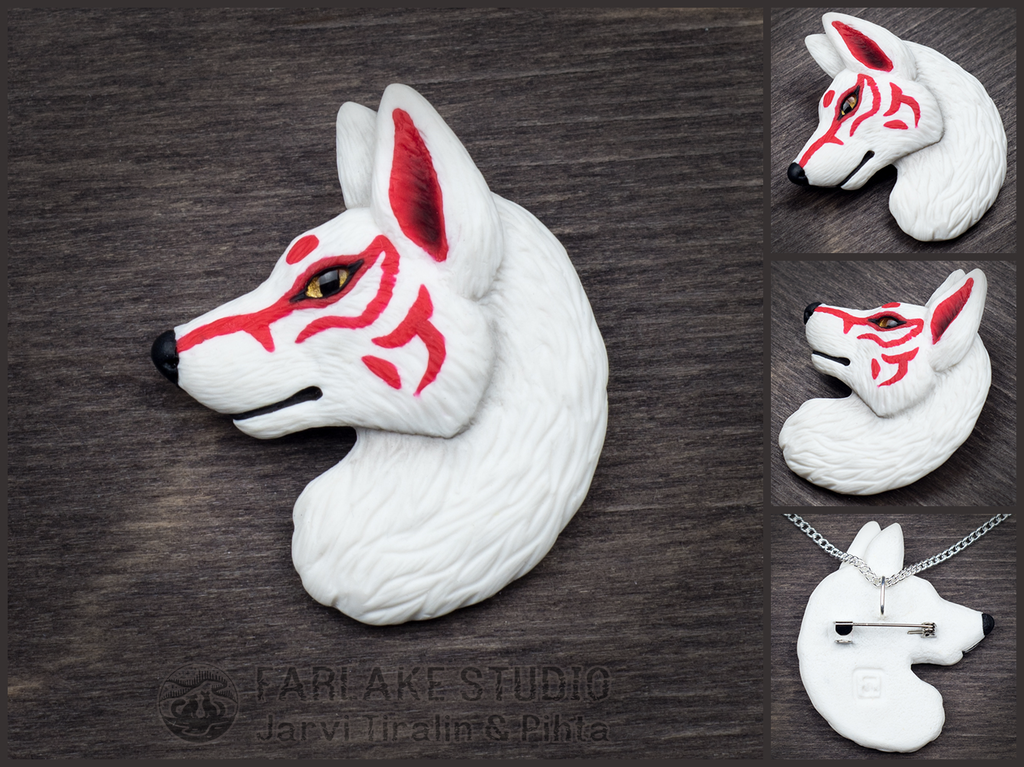 White Japanese wolf badge - for sale