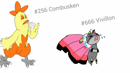 Combusken and Vivillon