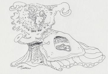"""a banana slug with a fancy hat"""
