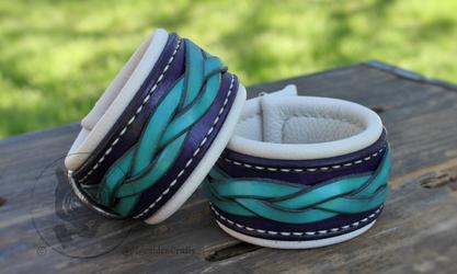Turquoise & Purple Braided Cuffs