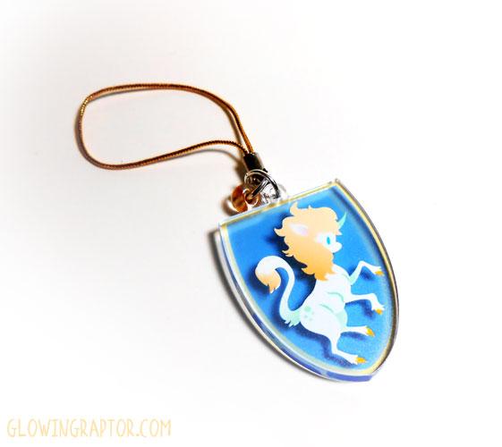 Cloey the Unicorn rampant charm