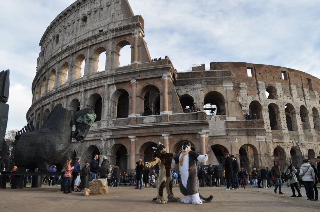 Standing by the Colosseum!