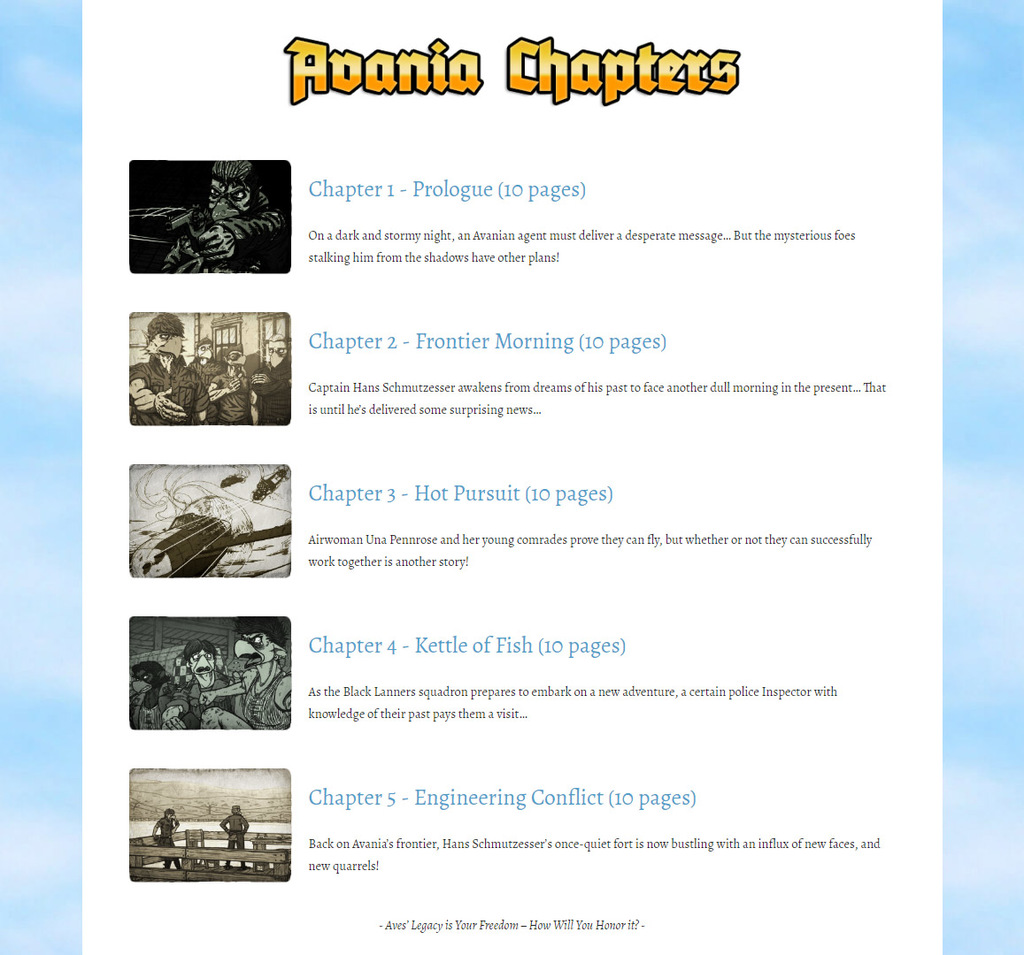Avania Comic - Chapter Guide