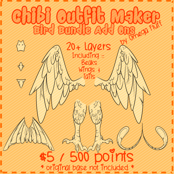 Most recent image: Chibi Outfit Maker Bird Bundle Add Ons