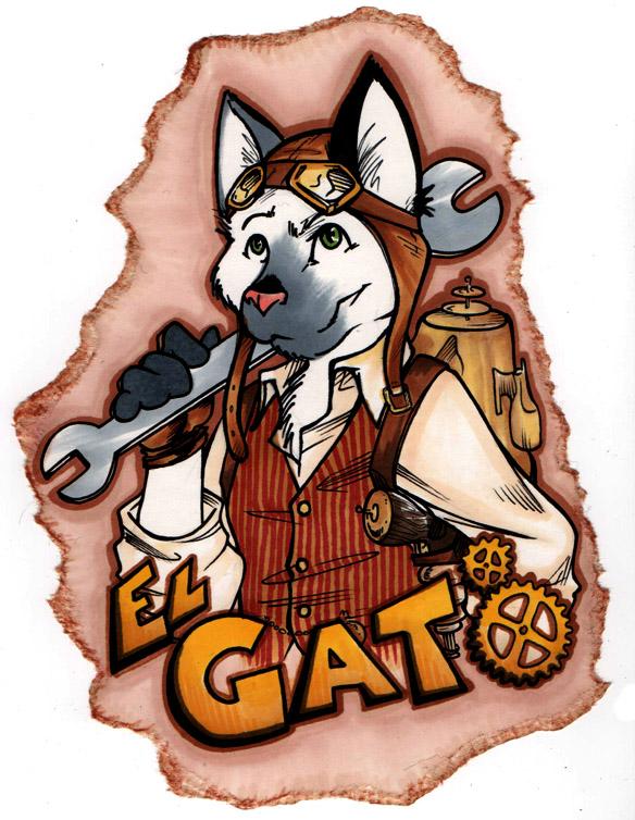 El Gato Steampunk Badge