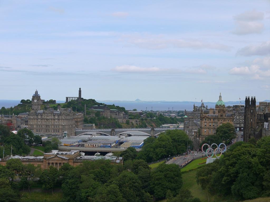 Edinburgh from Edinburgh Castle, with the Olympic Rings