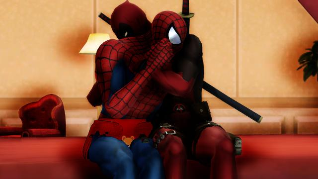 Big baby siderman and Daddy Deadpool