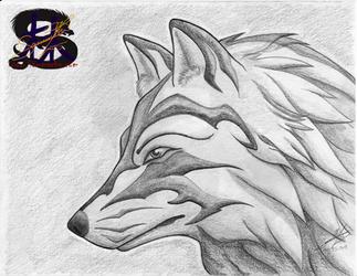 Tribal glare - Wolf - Pencil  Art
