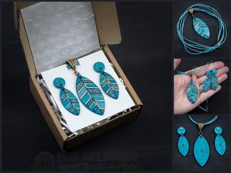 Turquoise feathers jewelry set