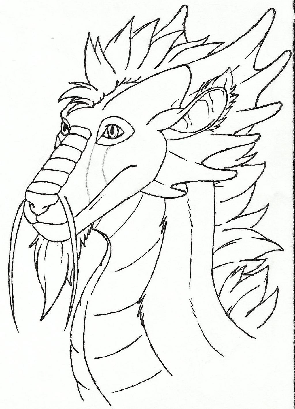 Dragon head: 3/4 view (Ink)