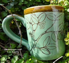 Cedar Waxwing Mug, Berry Bush Detail