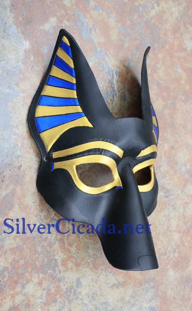 Leather Anubis Mask in Metallic Blue and Gold