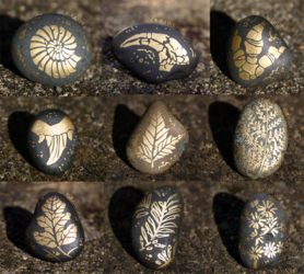 Painted Fossil Rock Magnets - Plants + Imprints