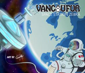 Vancoufur 2017 Badge - Space Station Zebra
